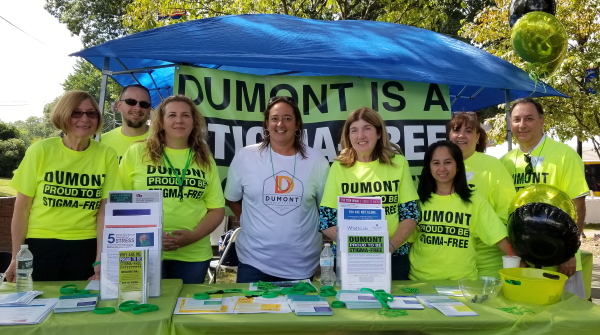 Dumont Stigma-Free campaign booth at Dumont Day 2019