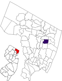 map of New Jersey and Bergen County, showing location of Dumont